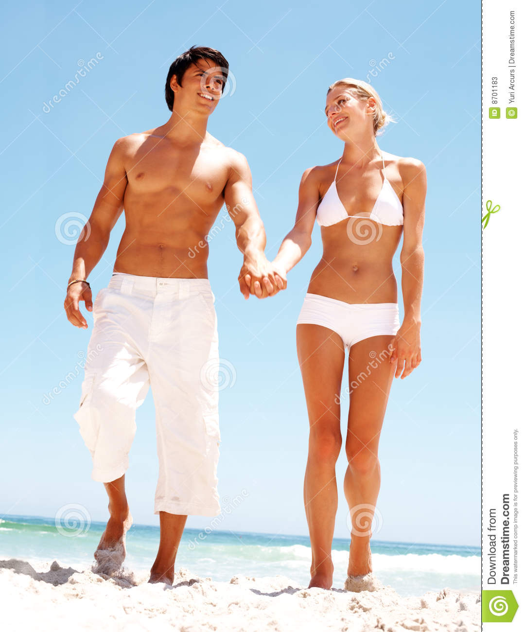 Couple At The Beach Stock Image Image Of Caucasian: Couple Holding Hands And Walking On The Beach Stock Image
