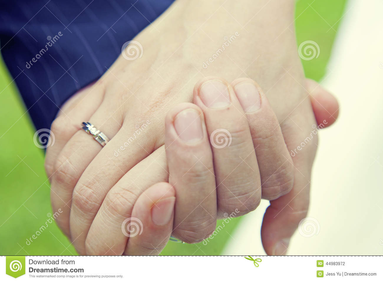 Couple Holding Hands With Wedding Ring Stock Photo - Image ...