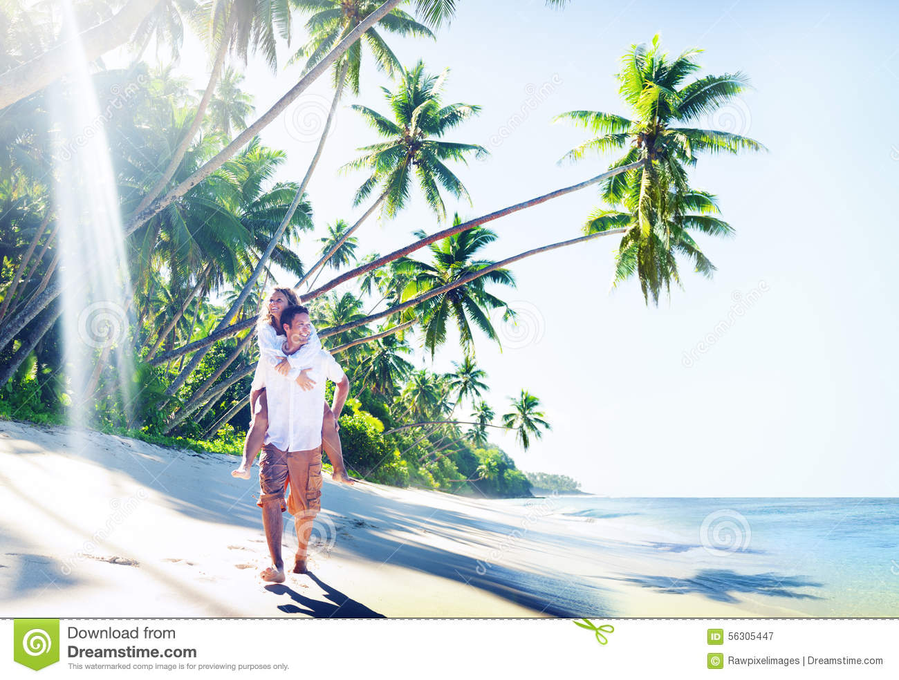 Romantic Pictures Of Tropical Beaches: Couple Honeymoon Tropical Beach Romantic Concept Stock