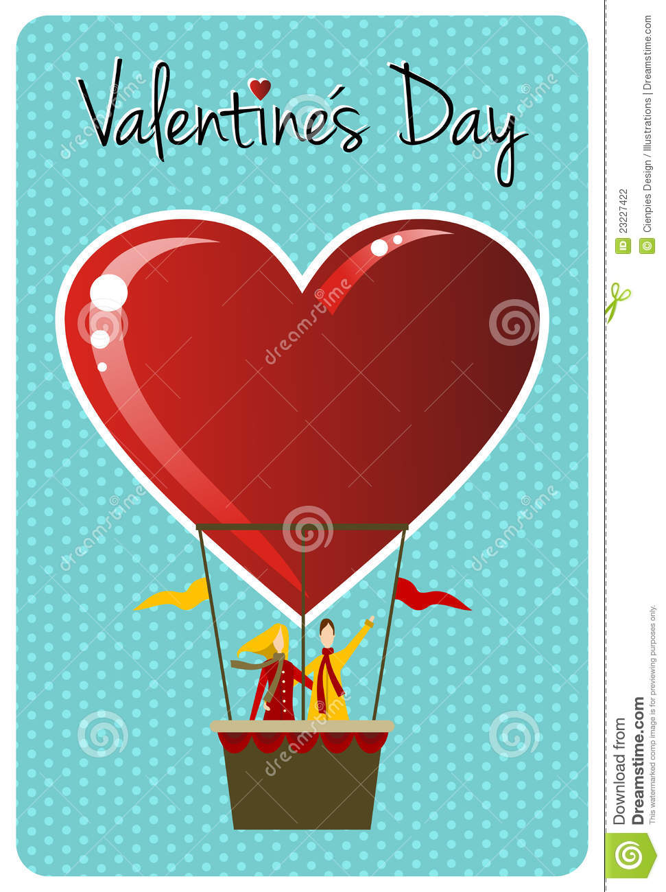 Couple In Hot Air Balloon Valentines Day