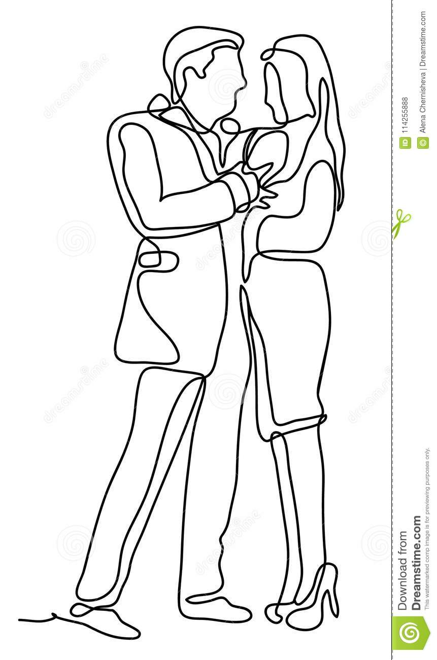 Couple hugging love concept continuous line drawing isolated on the white background