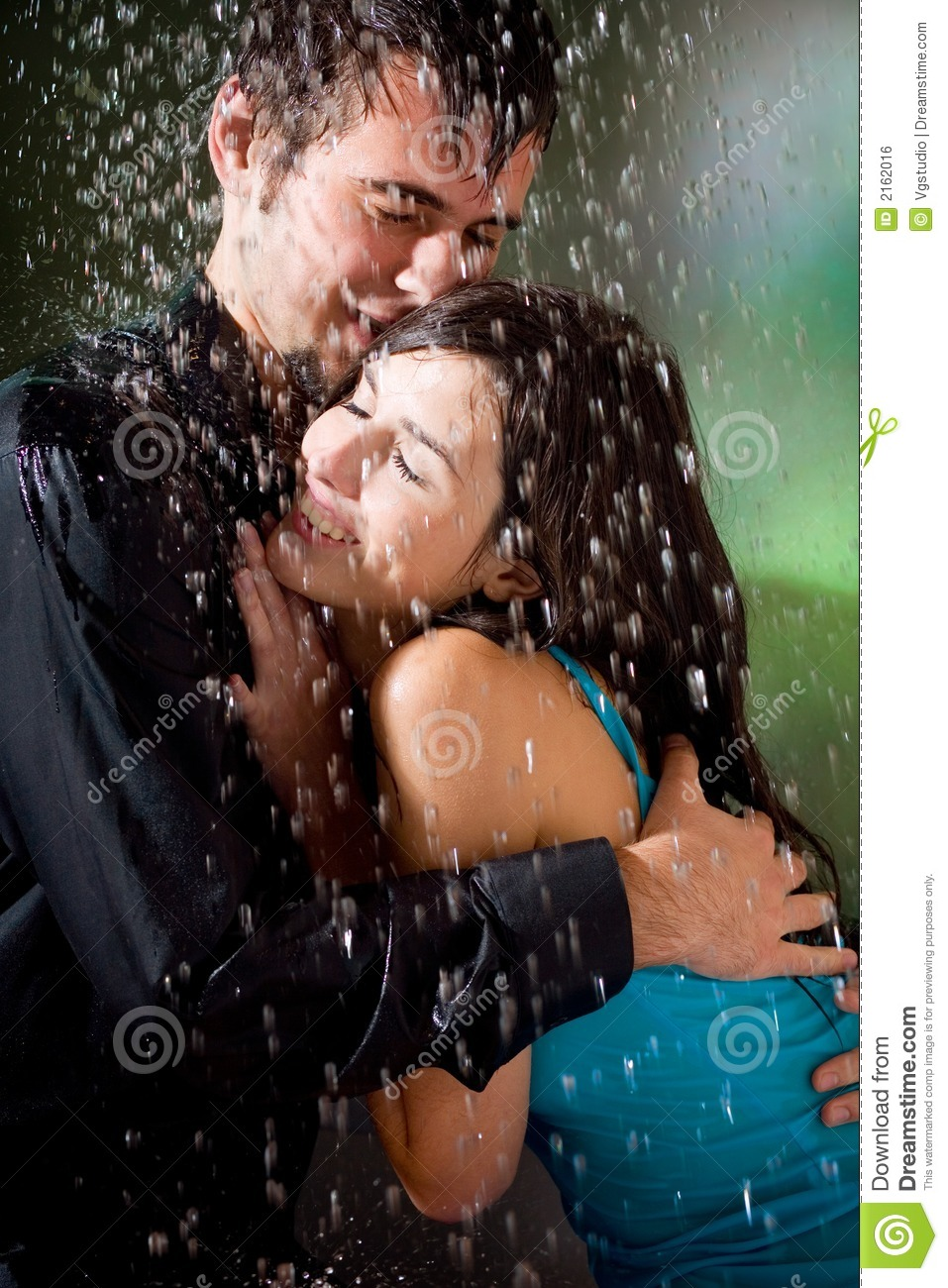 Couple hugging under a rain