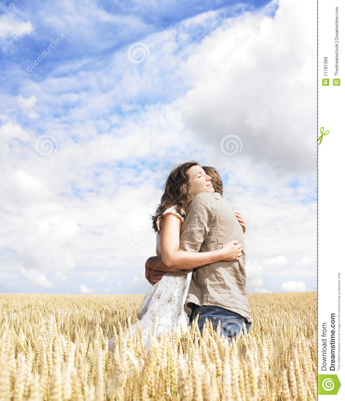 Couple Hugging In Wheat Field Stock Image