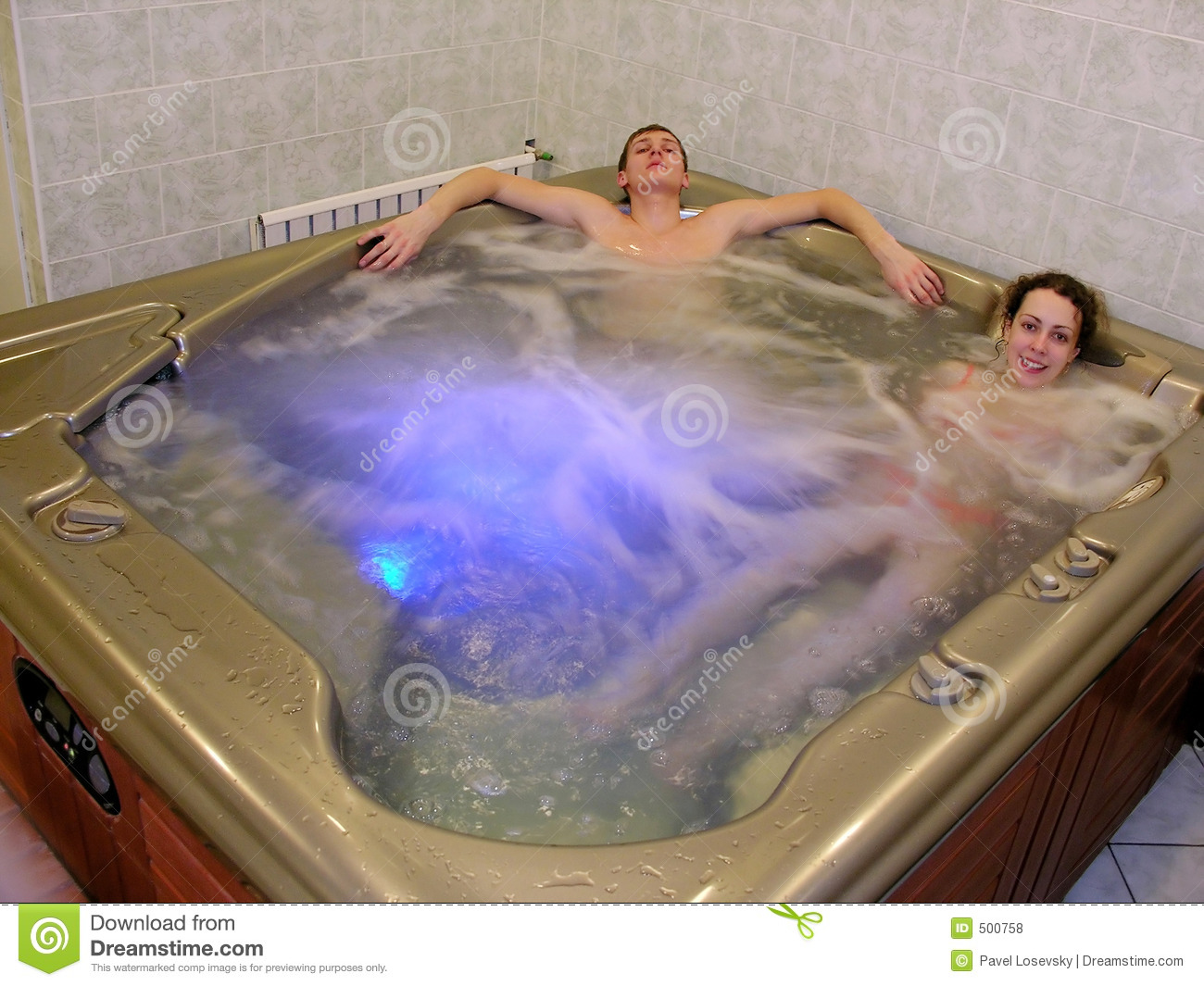 couple and jacuzzi stock photo image of bath carefree. Black Bedroom Furniture Sets. Home Design Ideas