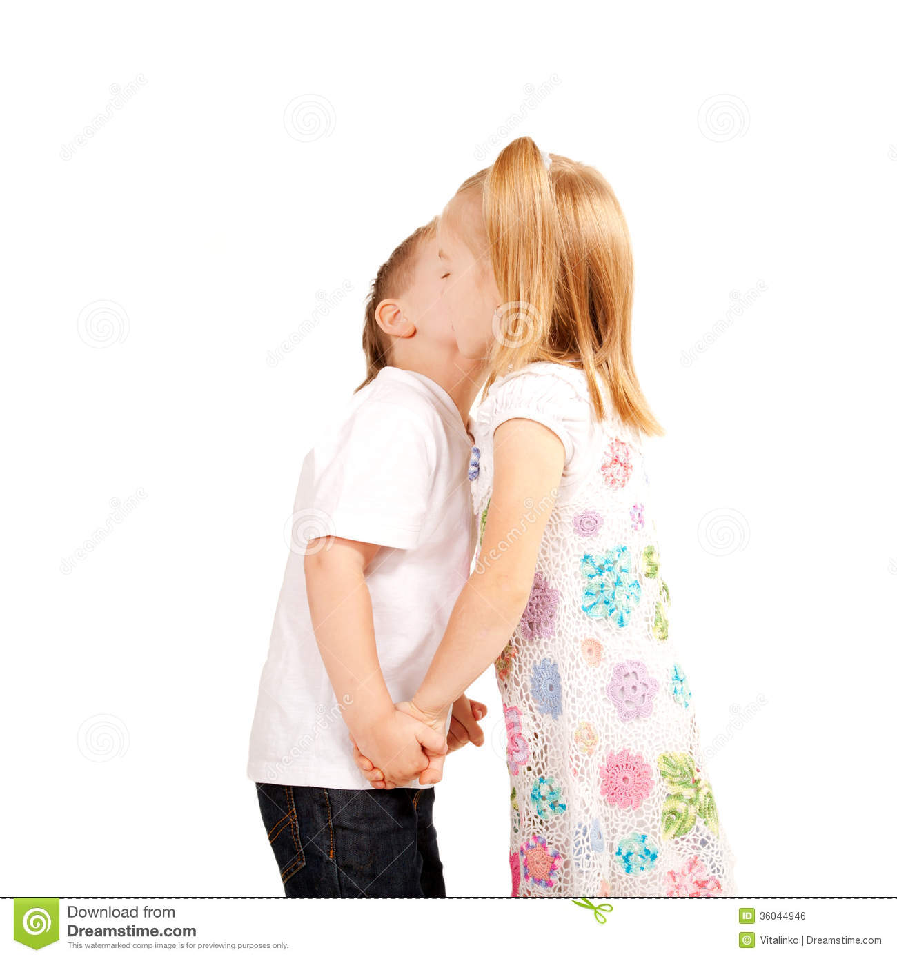 Couple Of Kids Boy And Girl Holding Hands And Kissing Love And