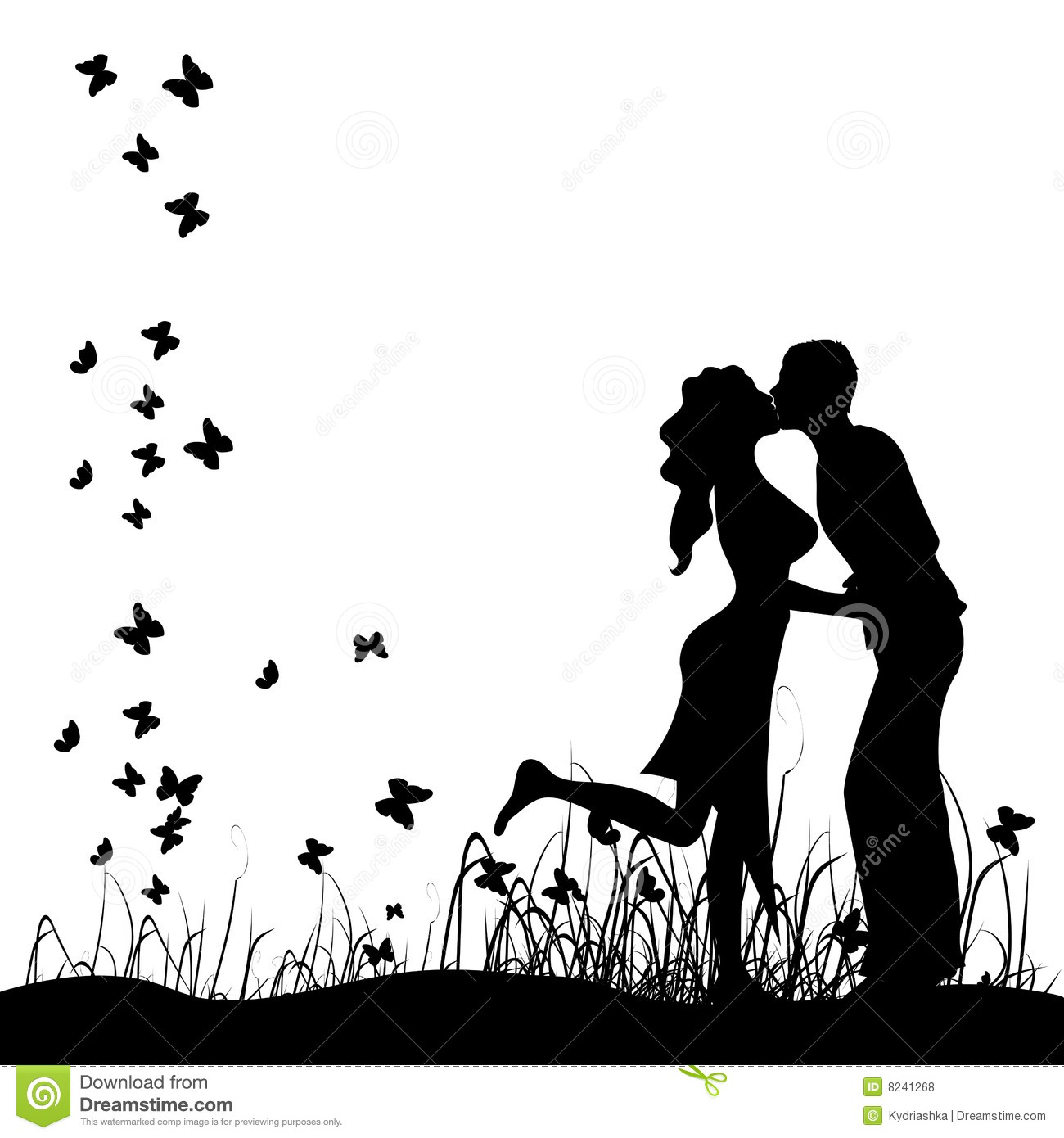 Couple Kisses On A Meadow, Black Silhouette Royalty Free Stock Photos ...