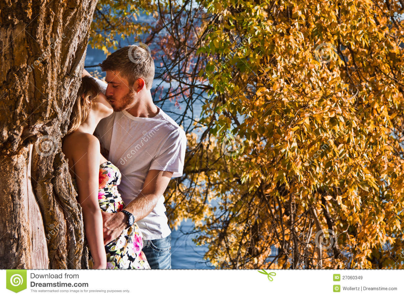 Couple kissing in autumn