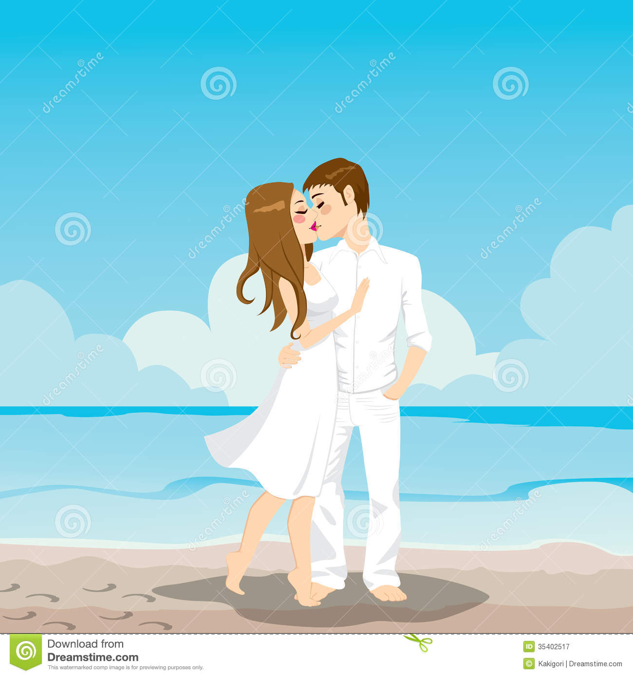 Happy Couple Sitting On Sandy Beach Embracing Kissing: Couple Kissing On Beach Stock Vector. Illustration Of