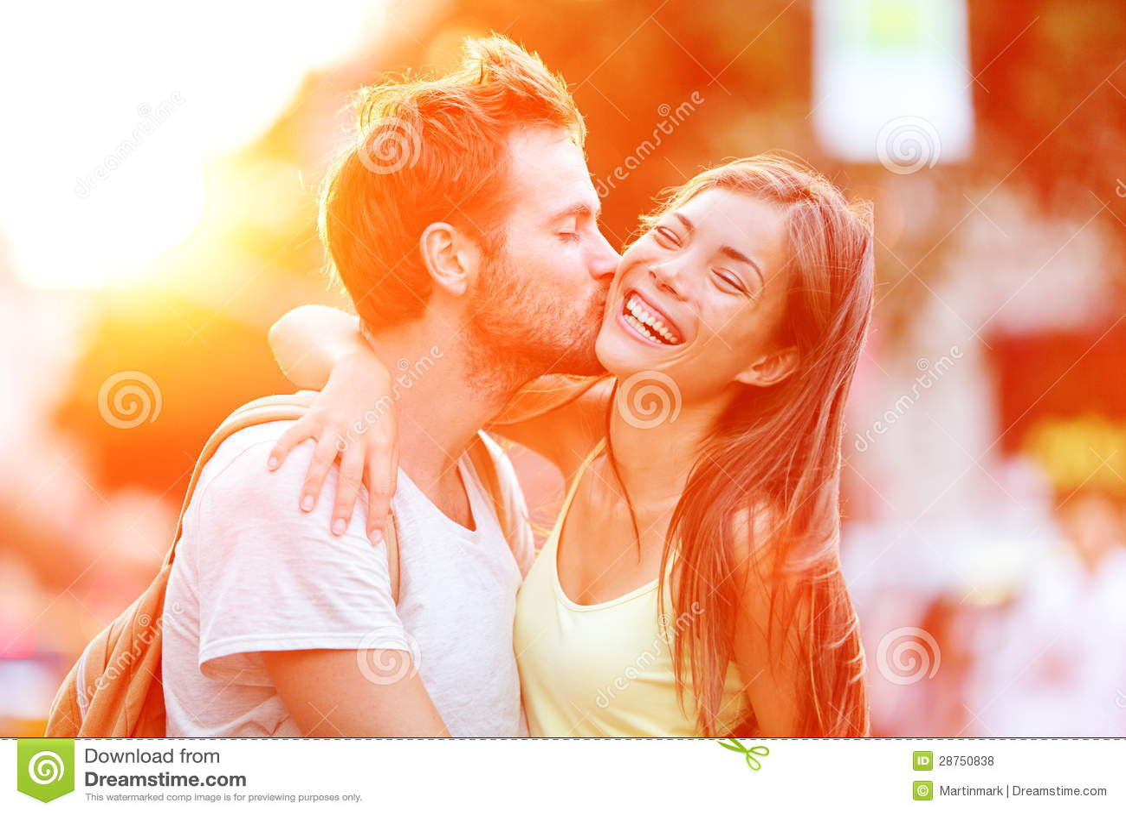 Couple kissing fun