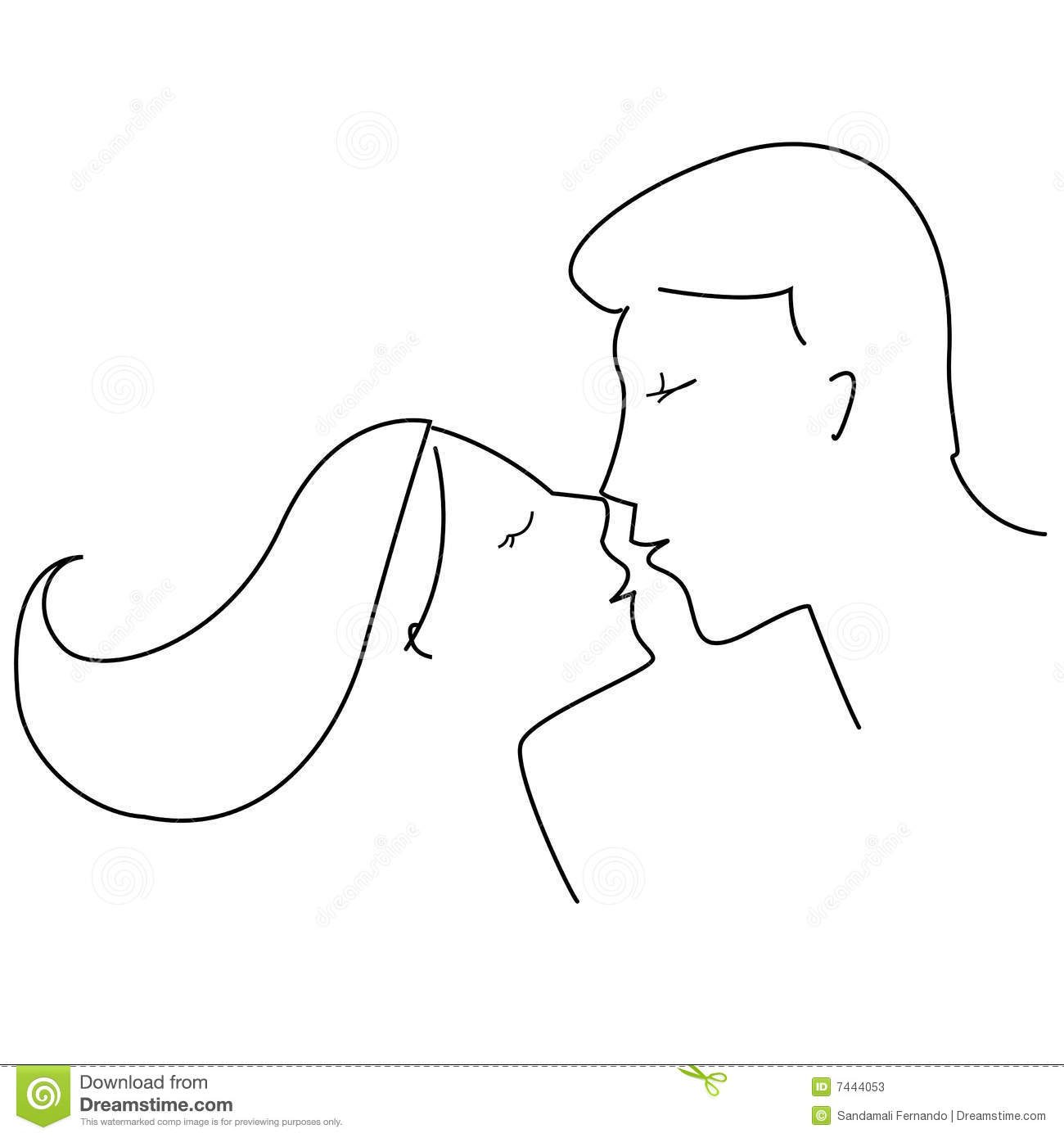 Line Art Kiss : Couple kissing line art stock vector image of affection