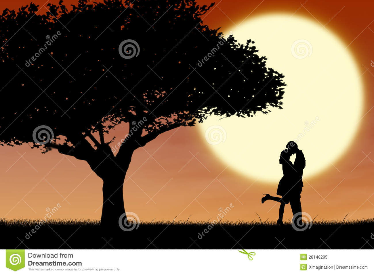 Couple Kissing By Orange Silhouette And Tree Royalty Free