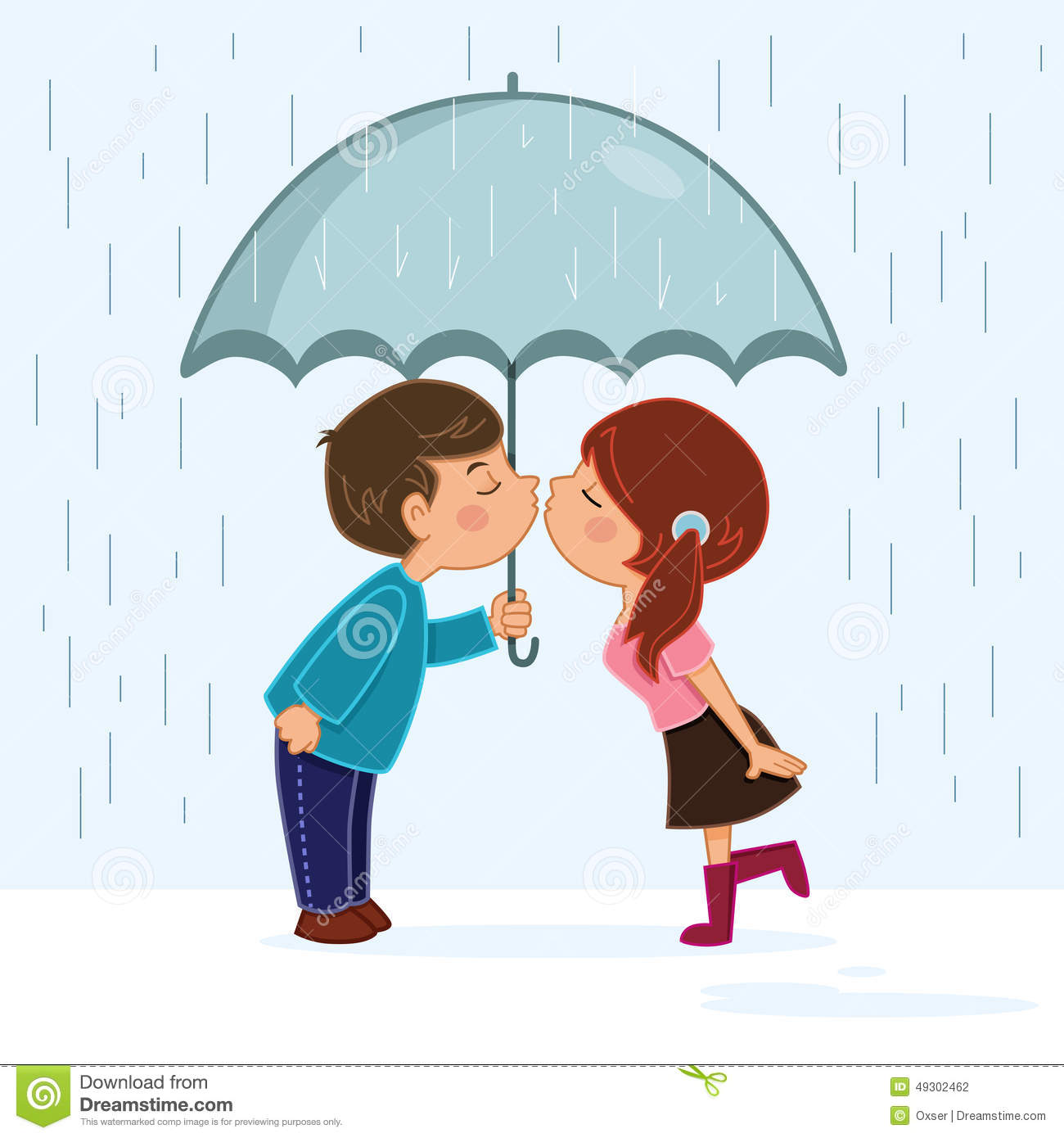 Couple kissing in the rain stock vector. Image of female ...