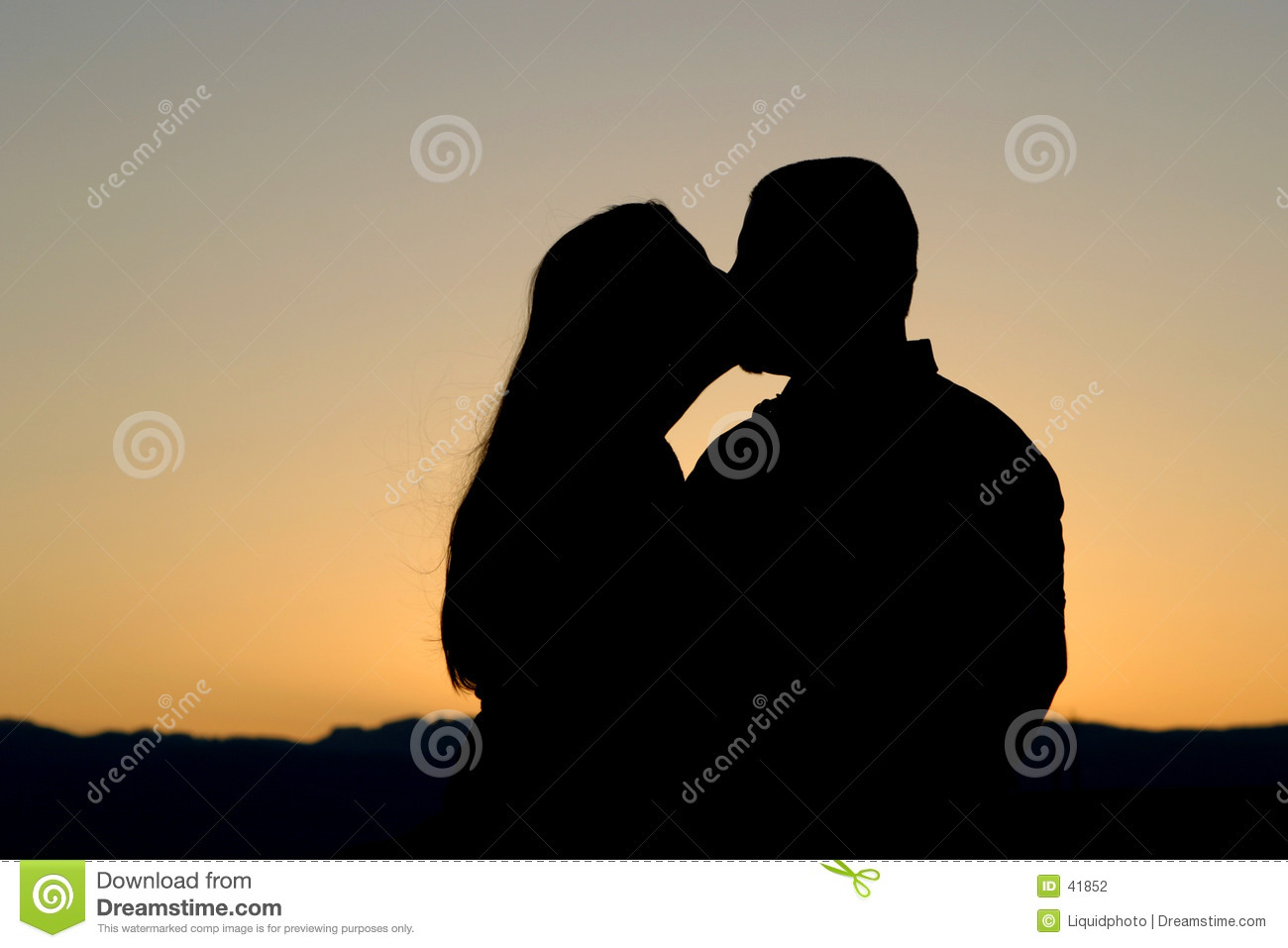 Couple Kissing Silhouette