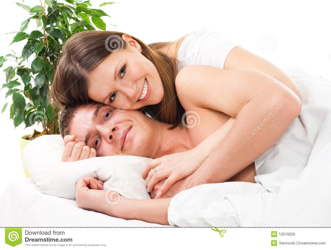 couple lay in the bed and and smile stock photo image of expression happiness 12519220. Black Bedroom Furniture Sets. Home Design Ideas