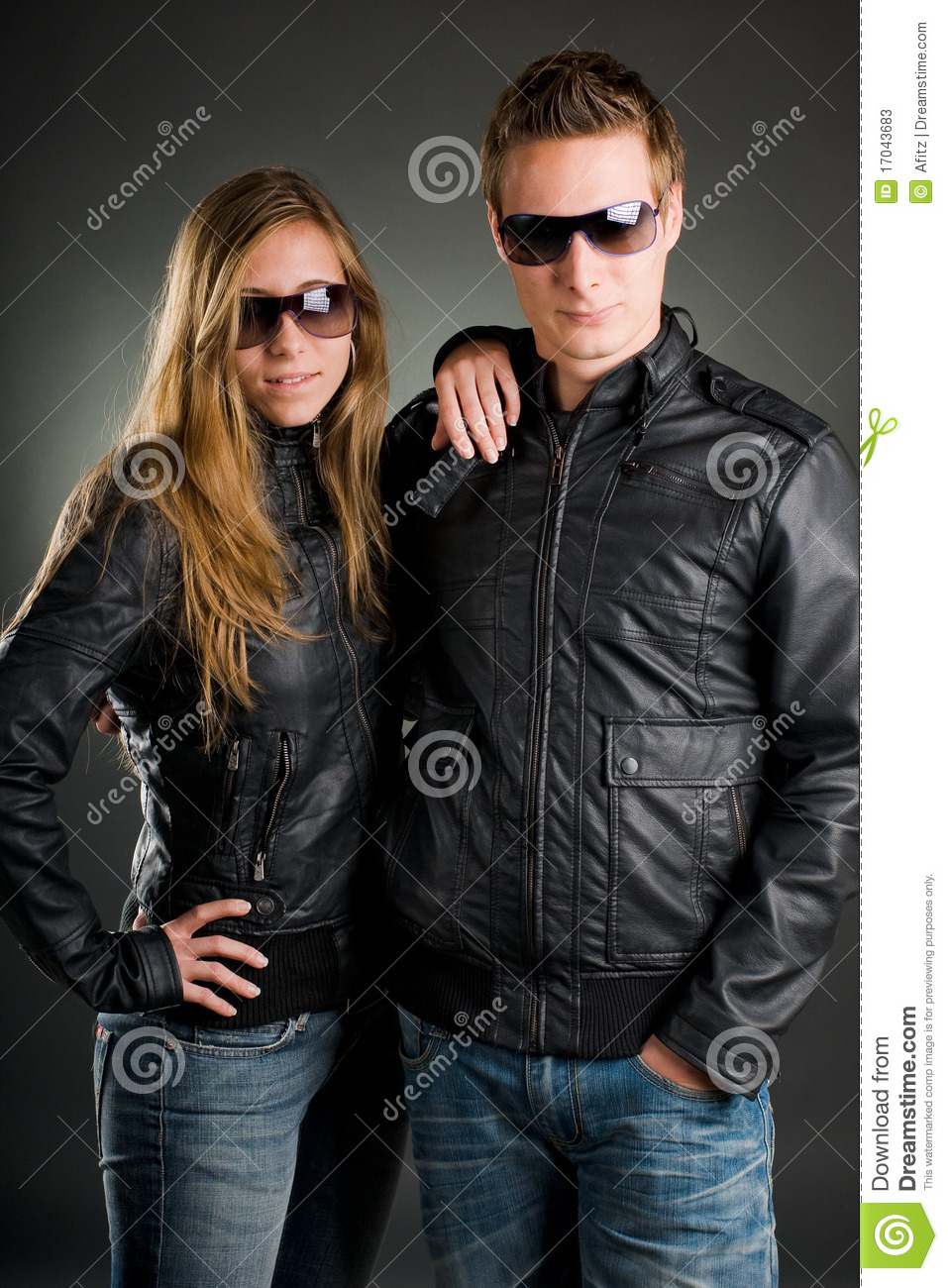 Couple With Leather Jackets Stock Photos Image 17043683