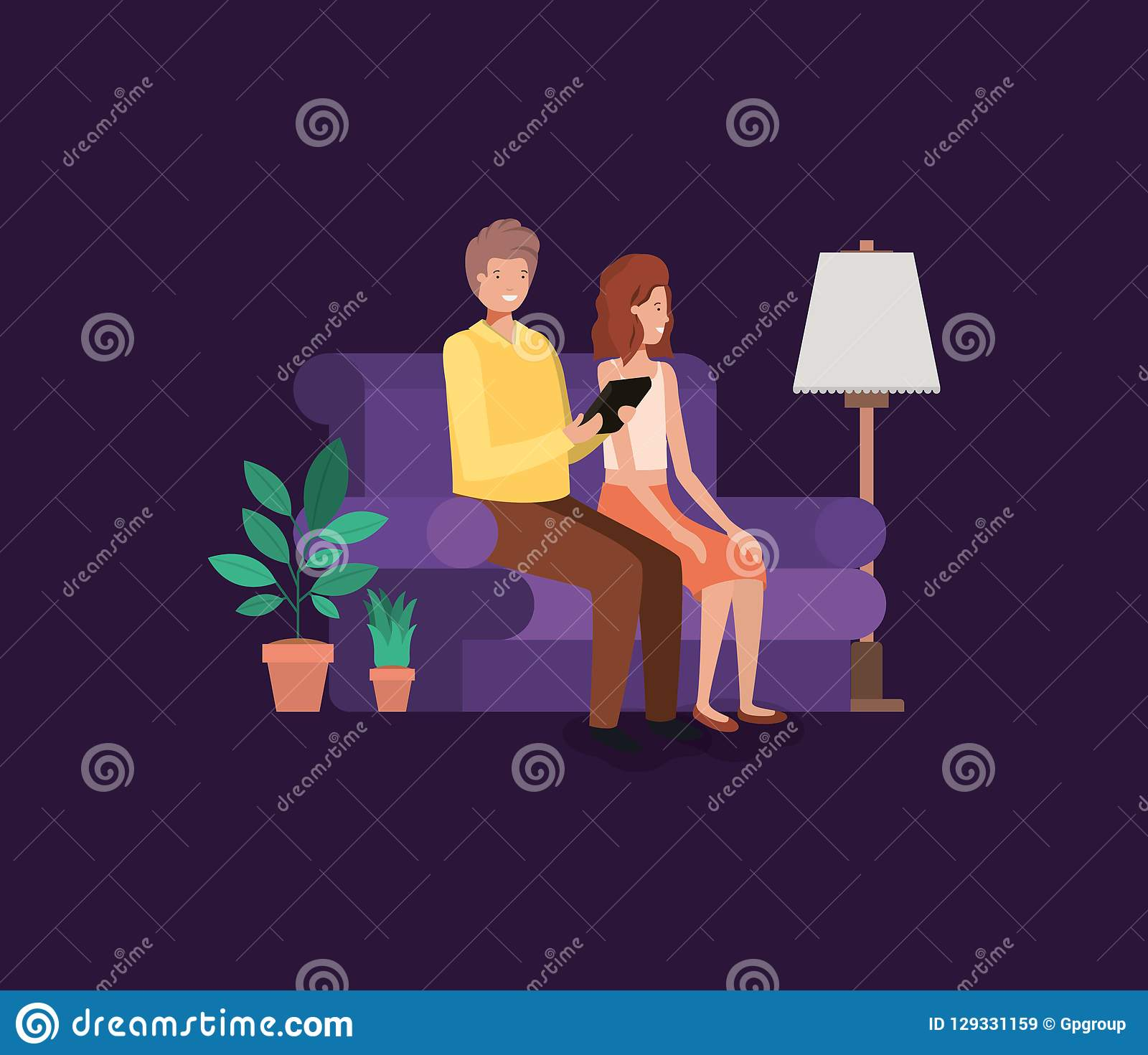 Couple on livingroom avatars characters. Vector illustration design royalty free stock images