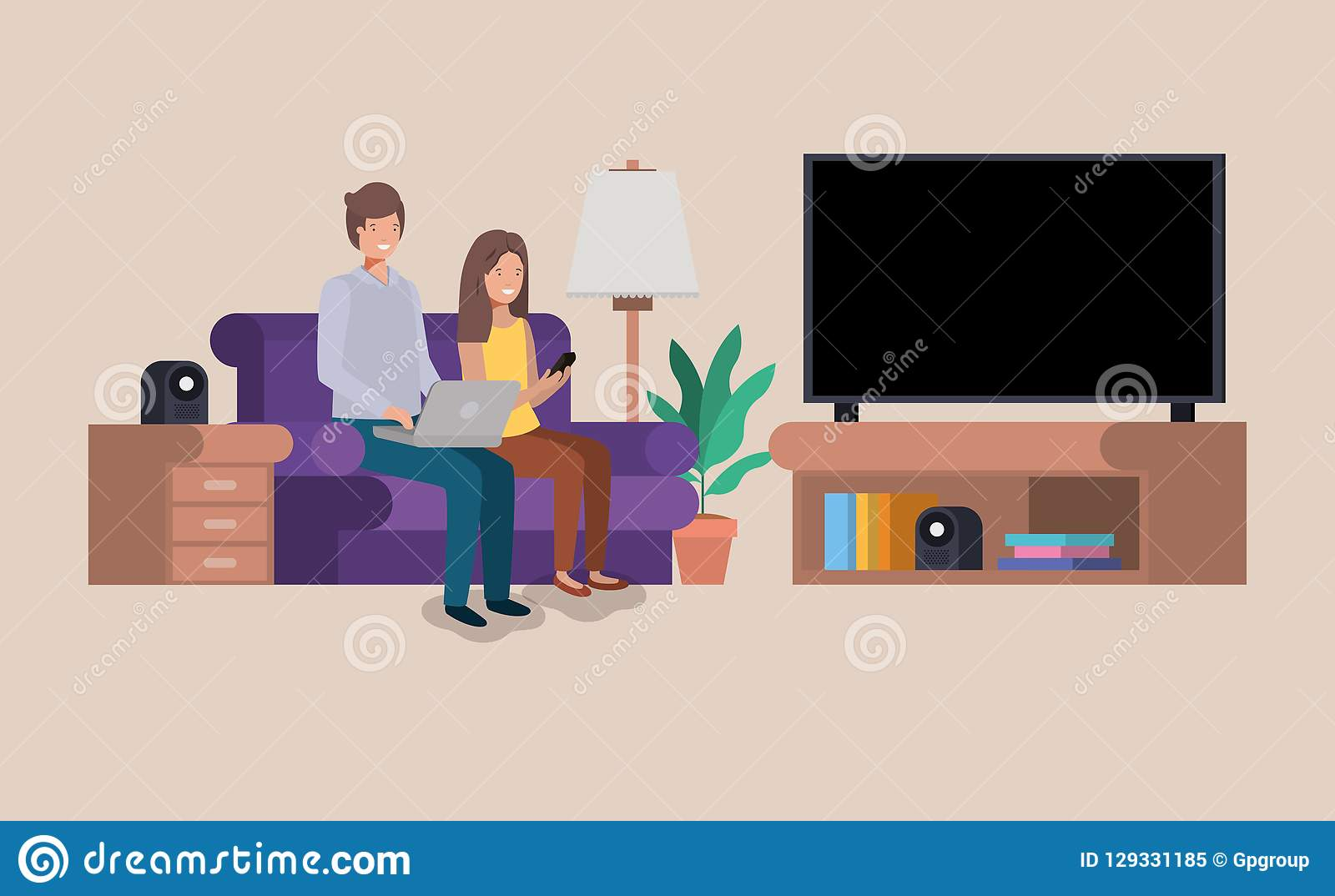 Couple on livingroom avatars characters. Vector illustration design royalty free stock photo