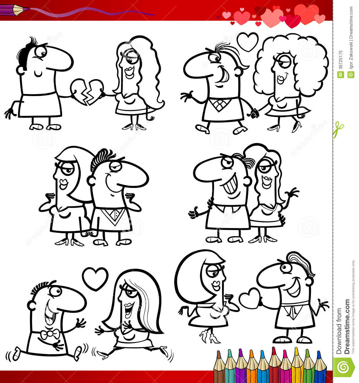 Couple In Love Cartoons Coloring Page Royalty Free Stock