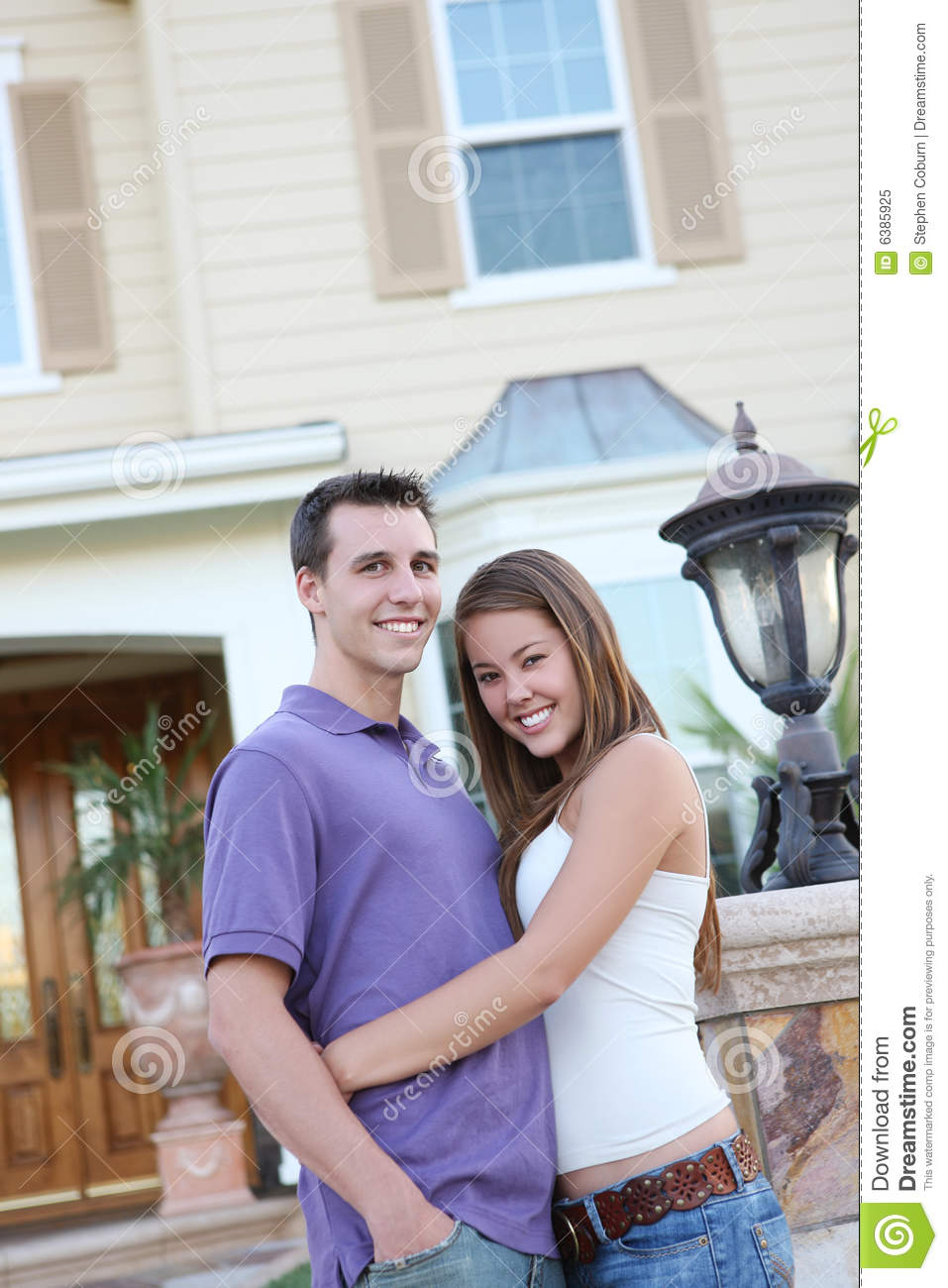 Couple in love in front of home royalty free stock photo image 6385925 - Young couple modern homes ...