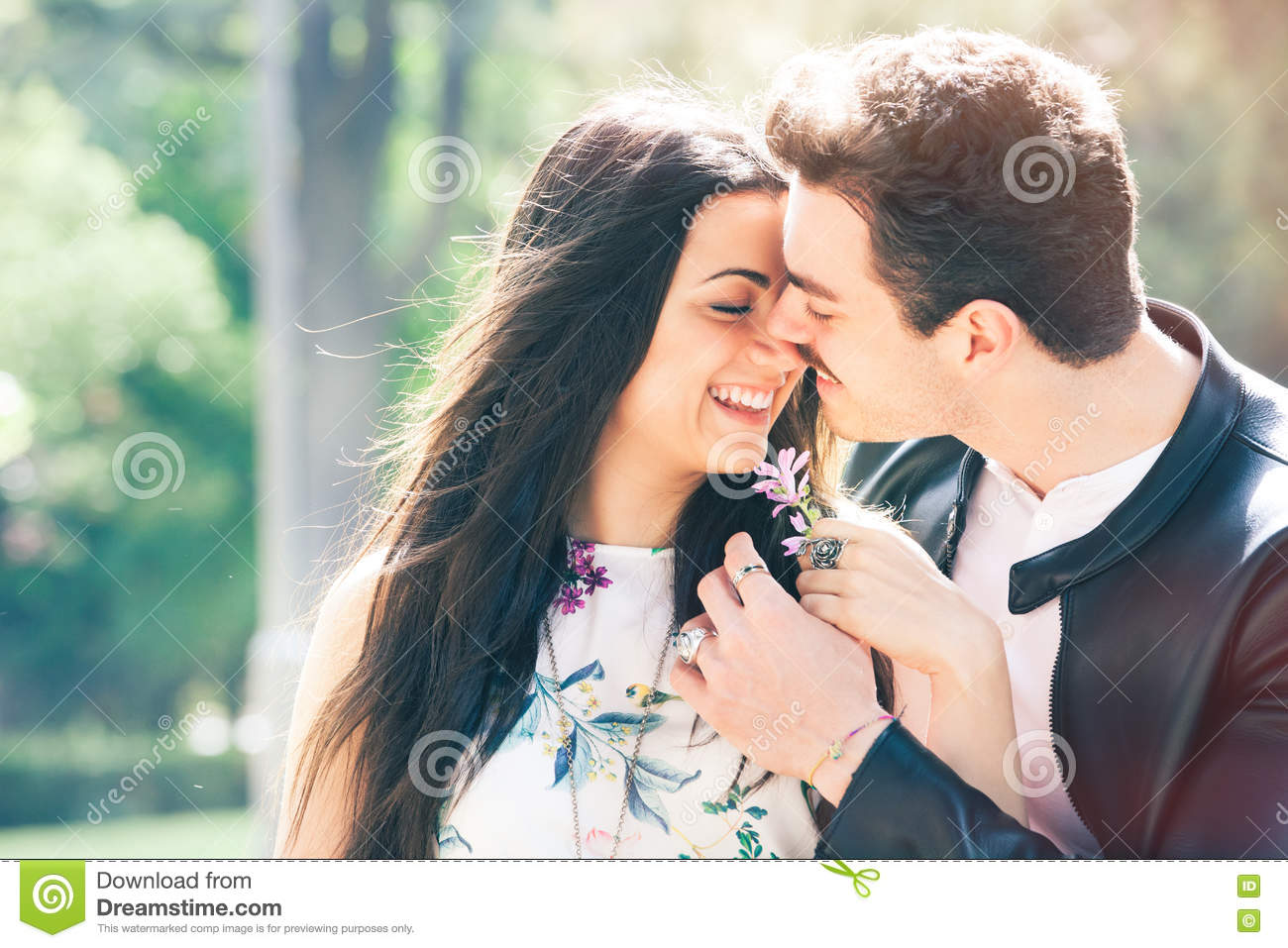 Couple Love Good Feeling Loving Harmony First Kiss Stock Image