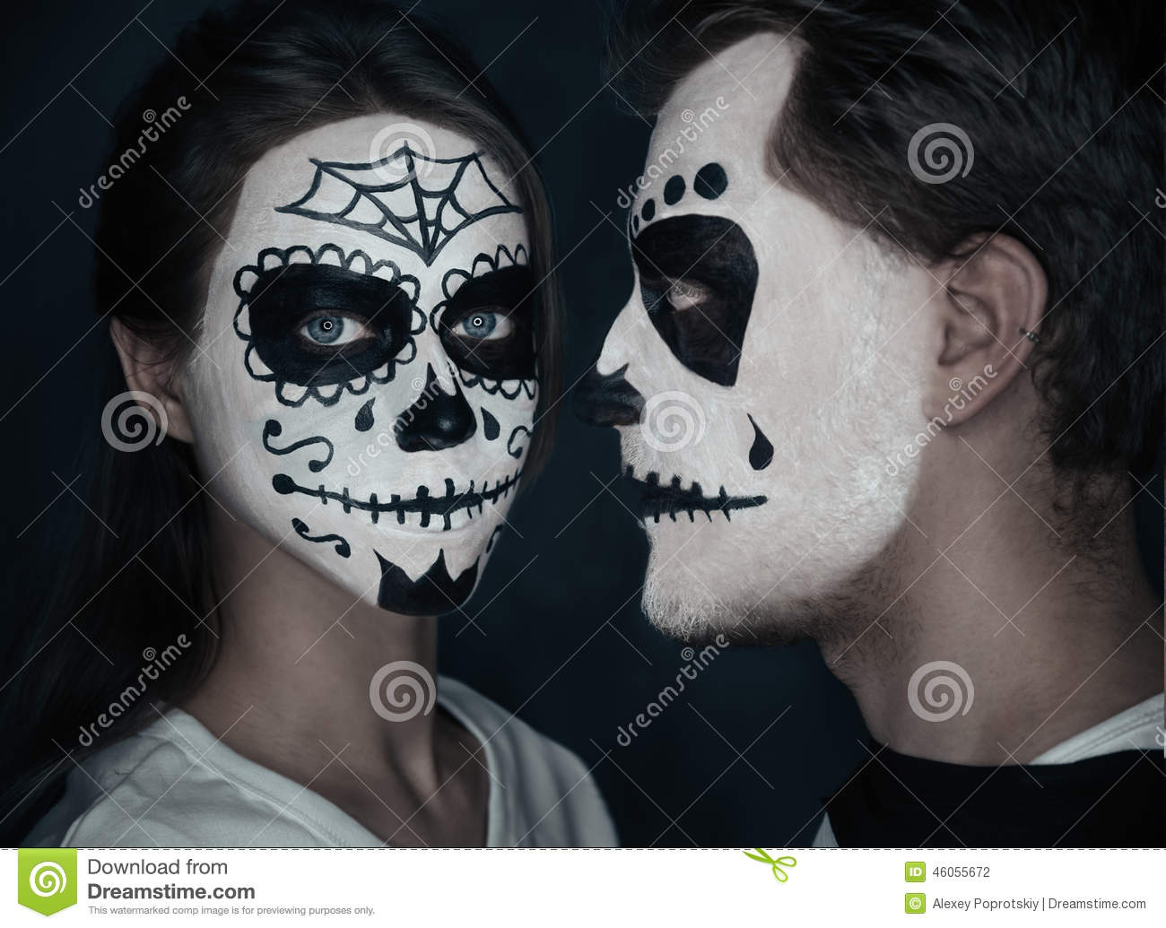 couple in love with halloween face art