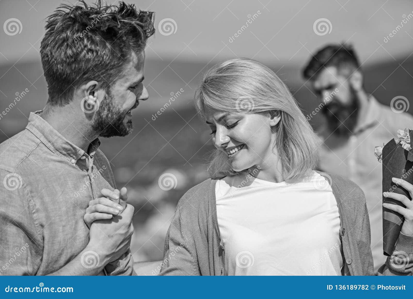 Couple In Love Happy Dating, Jealous Bearded Man Watching