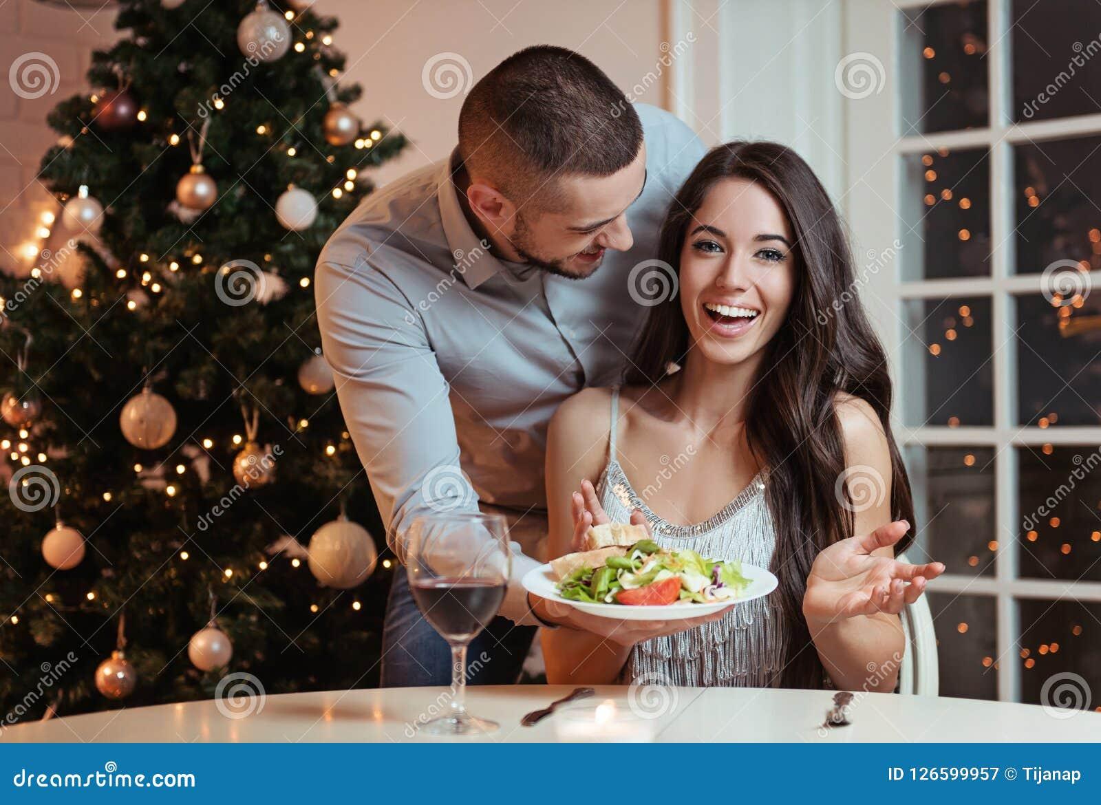 Couple in love, having a romantic dinner