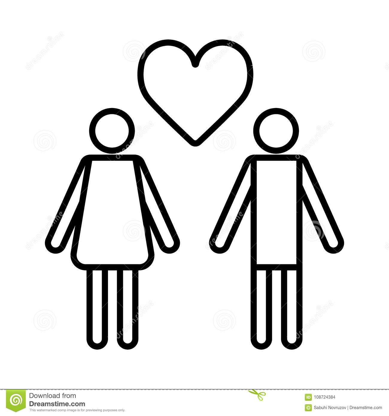Couple In Love With Heart Icon Vector Outline Flat Pictogram