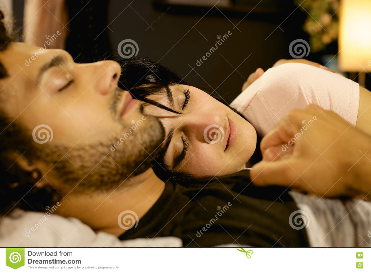 Couple In Love Holding Each Other While Sleeping At Night Bed Man