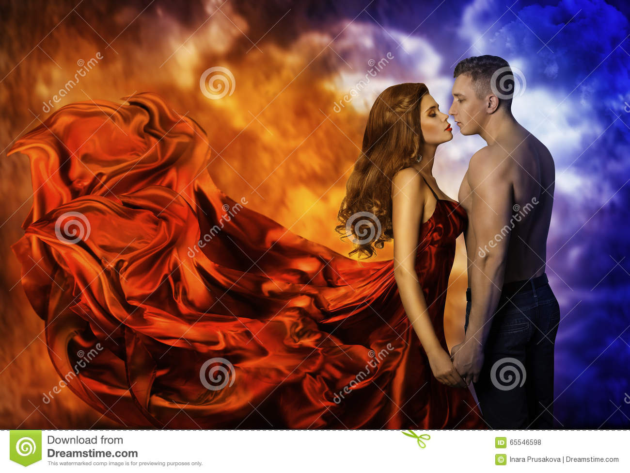 Couple in Love, Hot Fire Woman Cold Man, Romantic Kiss