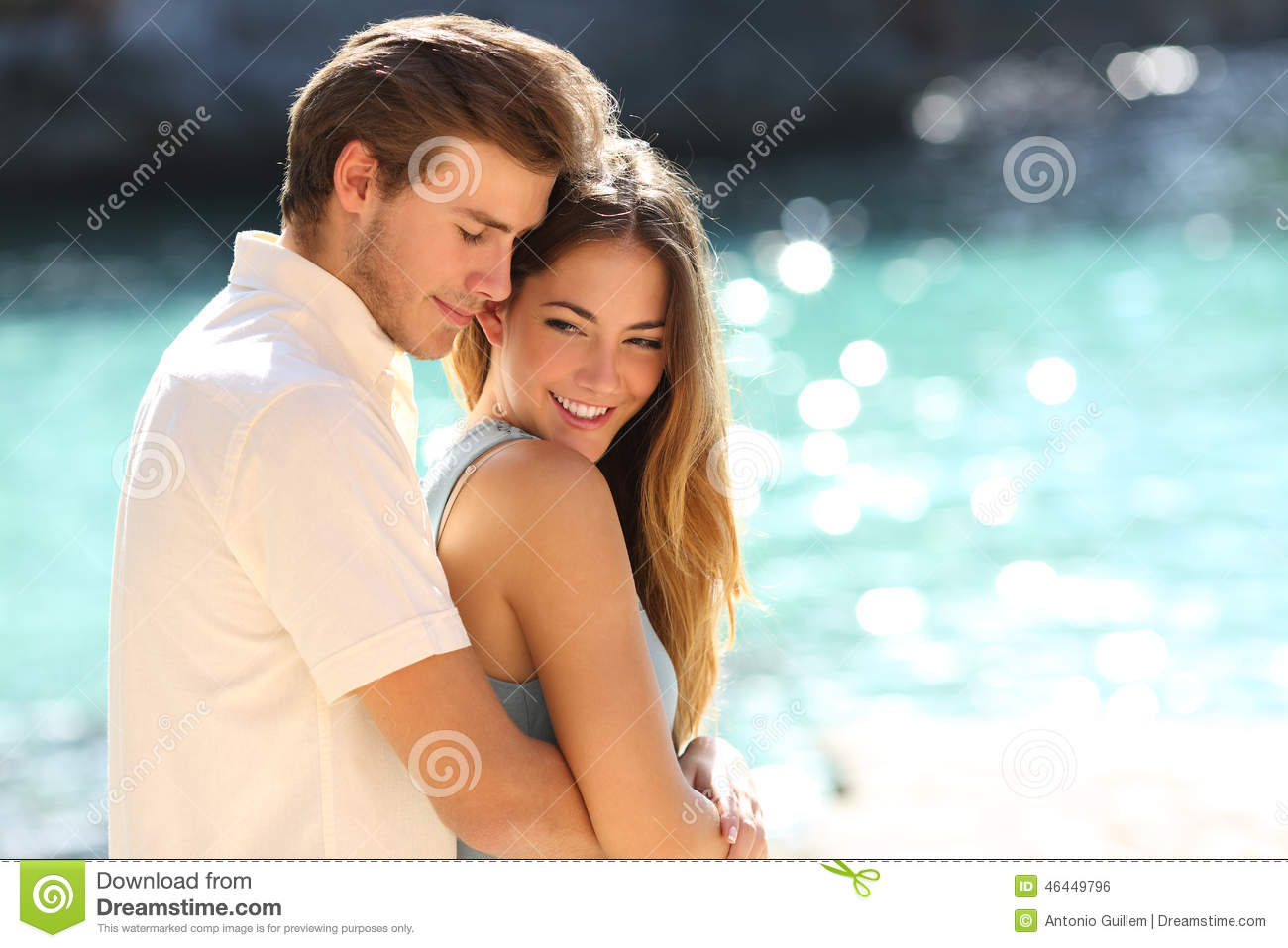 Download Couple In Love Hugging On A Tropical Beach Stock Photo - Image of couple, happy: 46449796