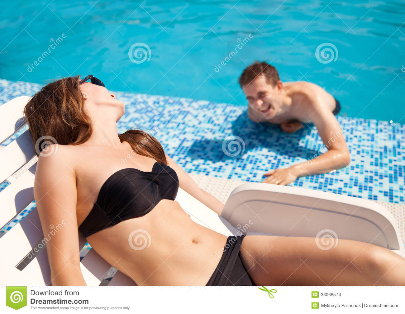 Royalty Free Stock Photo. Download Couple In Love Near Swimming Pool ...