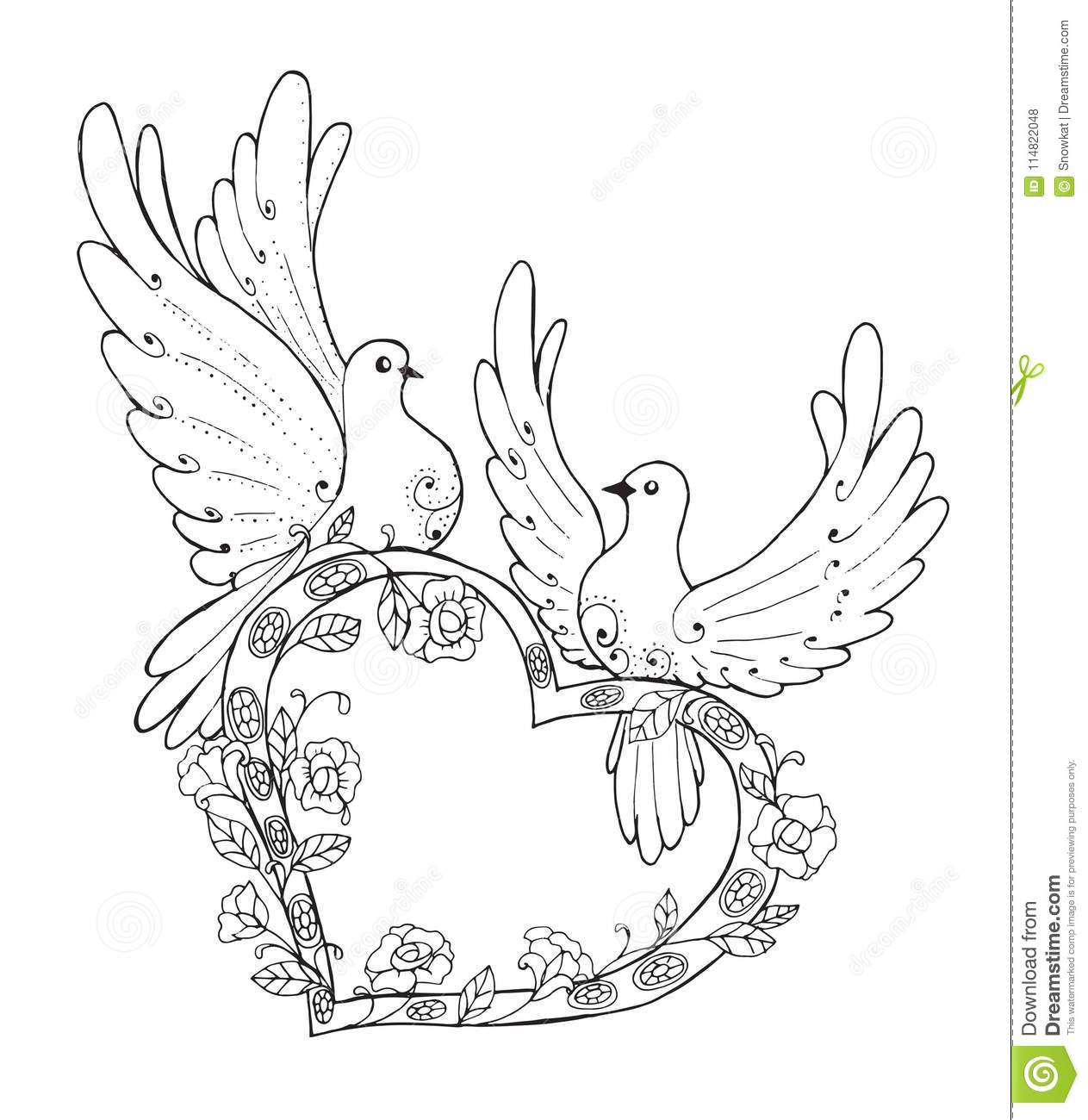 Outline drawing for coloring. Coloring book for kids and adults. Stylized  birds and heart. Beautiful pattern for printing on postcards and covers.