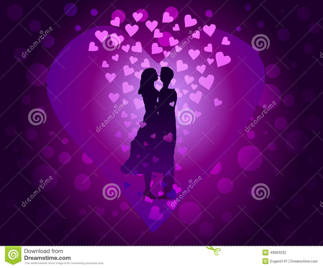 couple in love on purple background among the many hearts