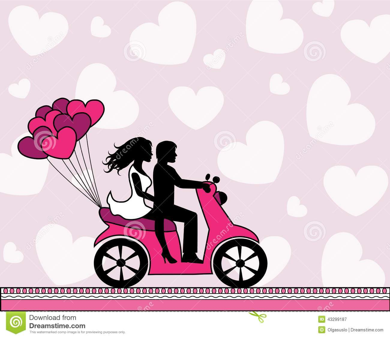 Couple In Love Riding A Motorbike Stock Vector