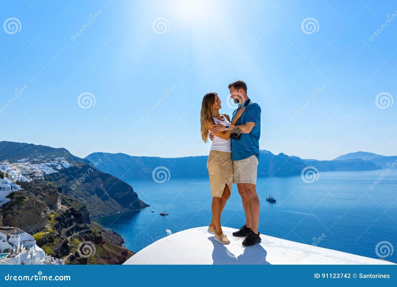 Couple in love on Santorini
