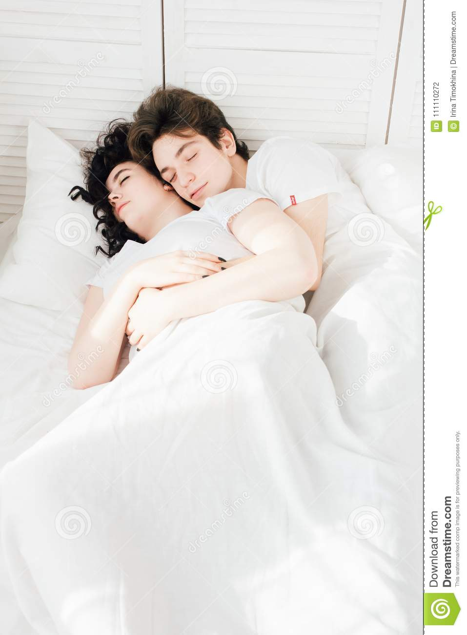 Couple In Love Sleeps Cuddling Bed Stock Photo