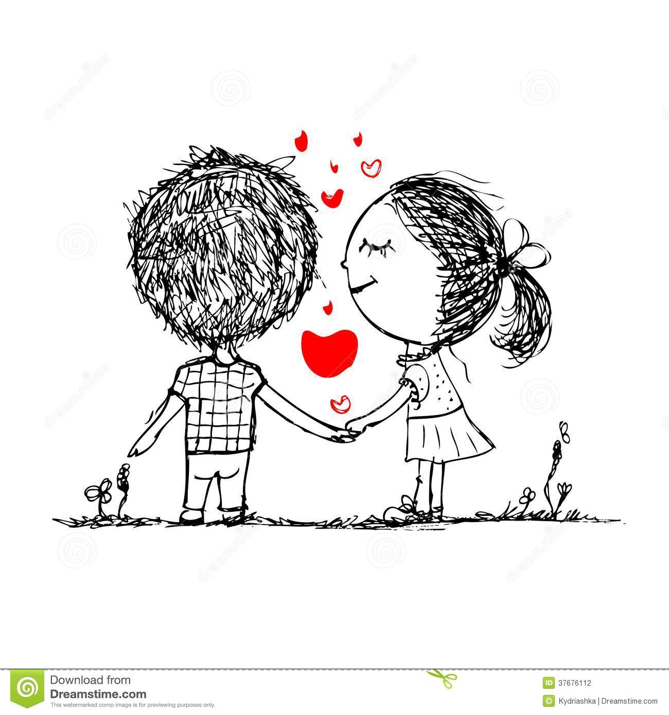 Couple In Love Together Valentine Sketch For Your Stock Vector - Illustration Of Cute Holiday ...