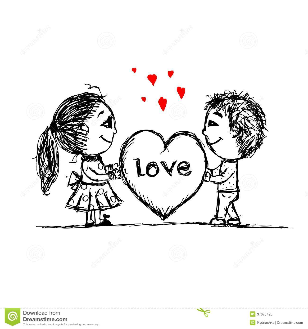 couple In Love Together, Valentine Sketch For Your Stock Vector - Image: 37676426