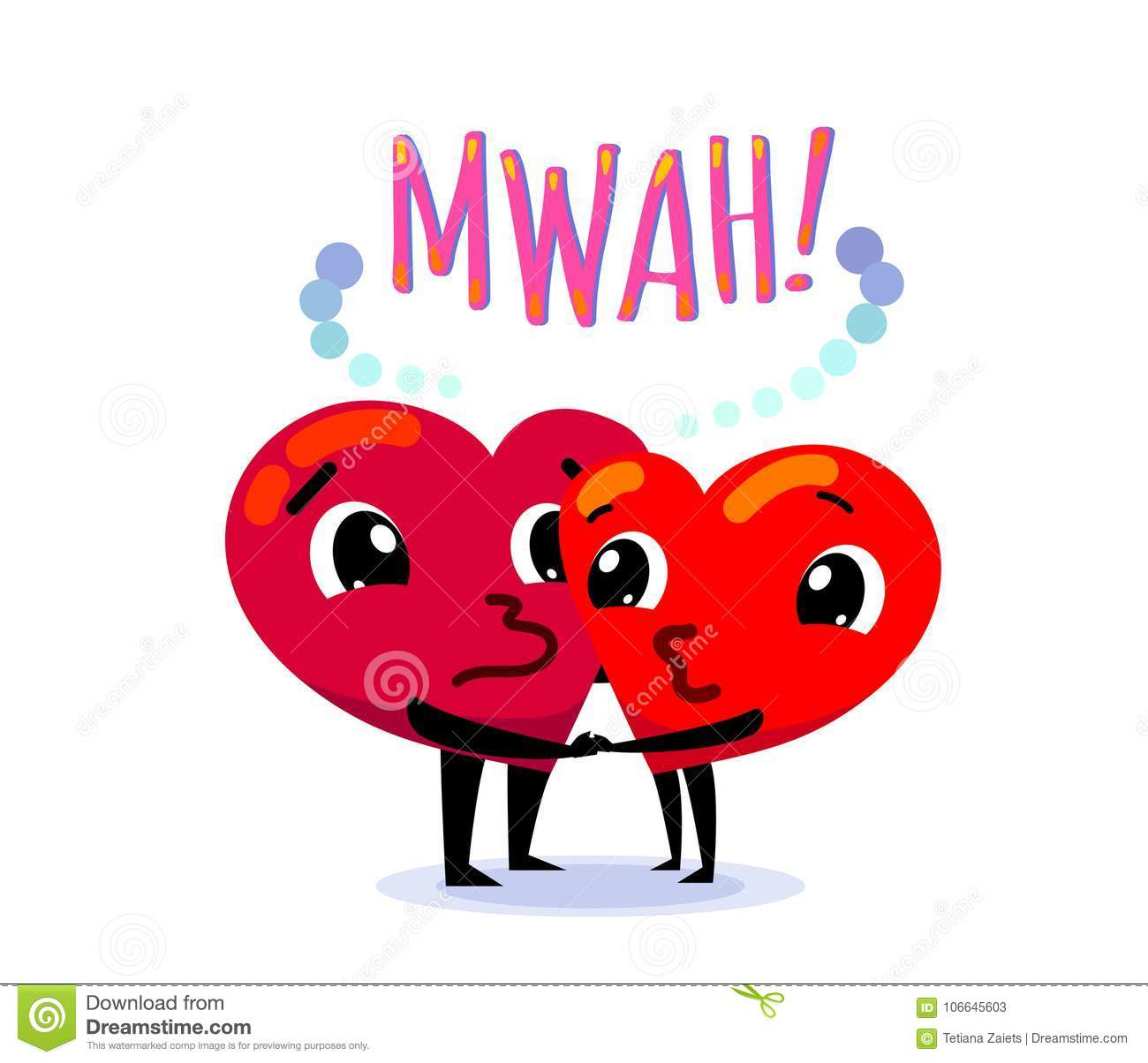 Couple In Love  Two Funny Cartoon Hearts Kisses Each Other