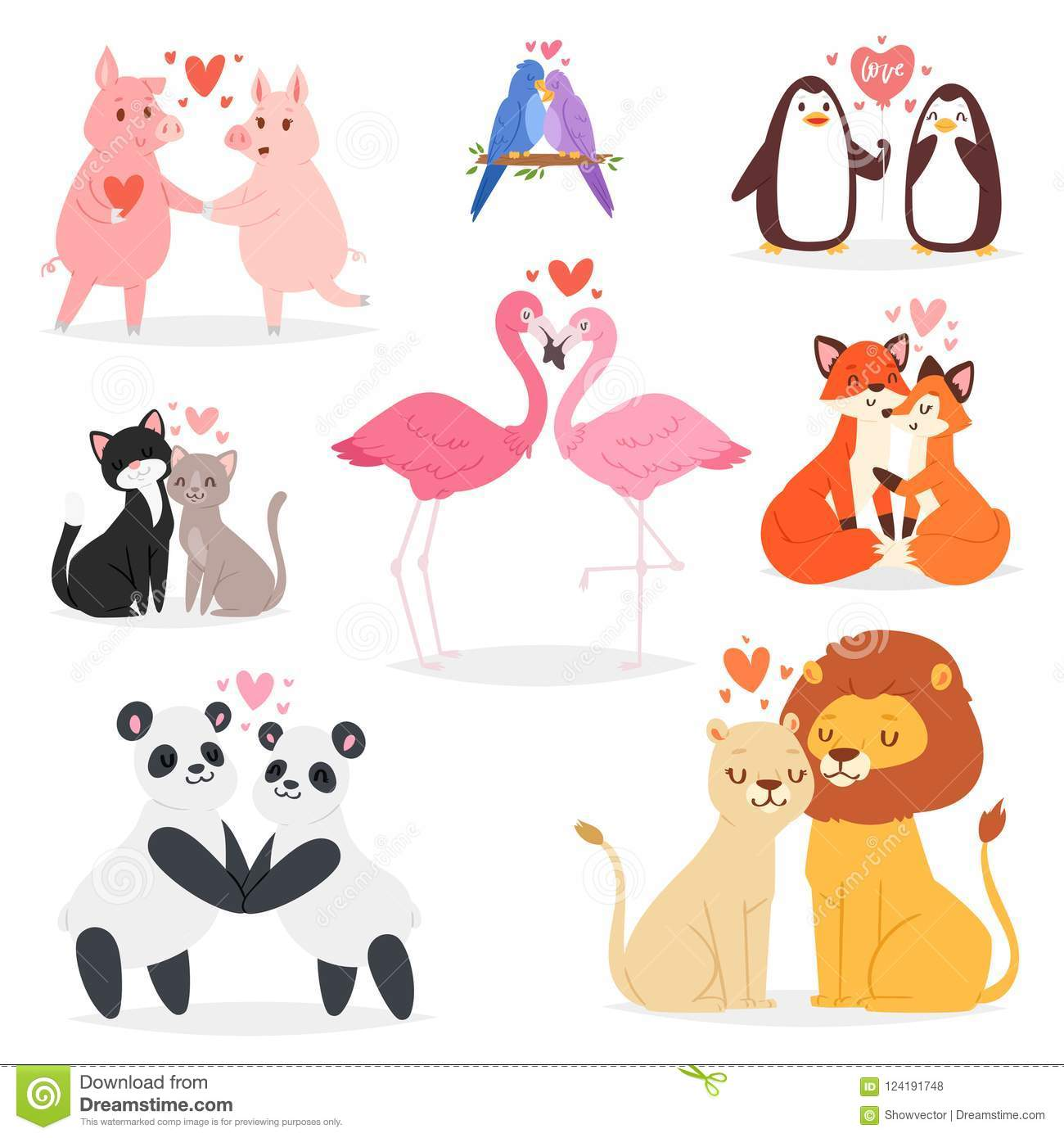 4f2331e2844 Couple in love vector animal lovers characters panda or cat on loving date  on Valentines day