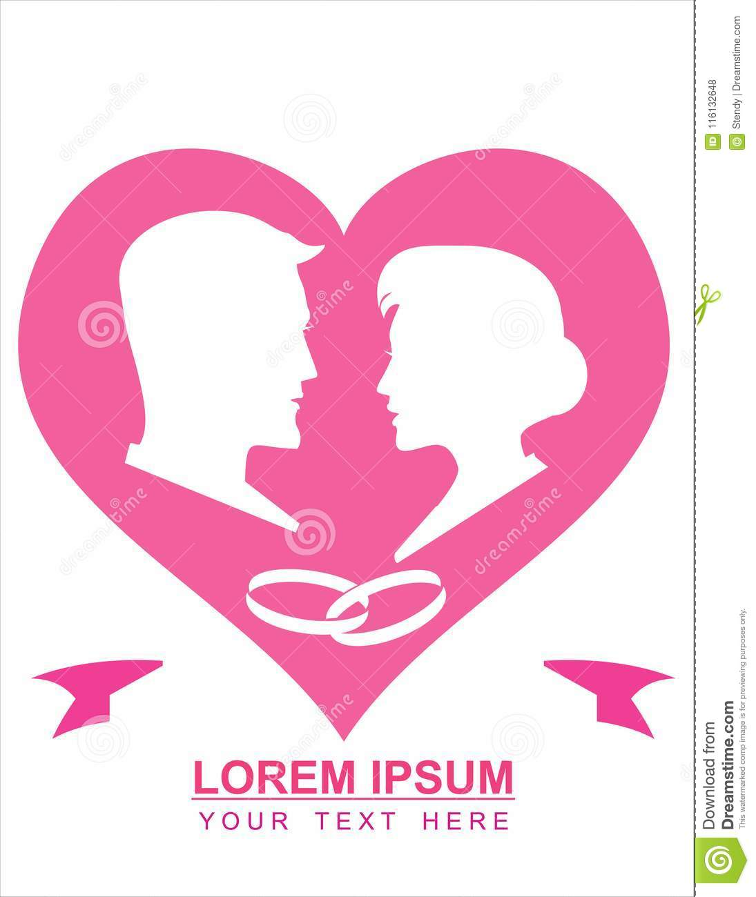 Man And Woman, Couple, And Ring On Heart Shape. Stock Illustration ...