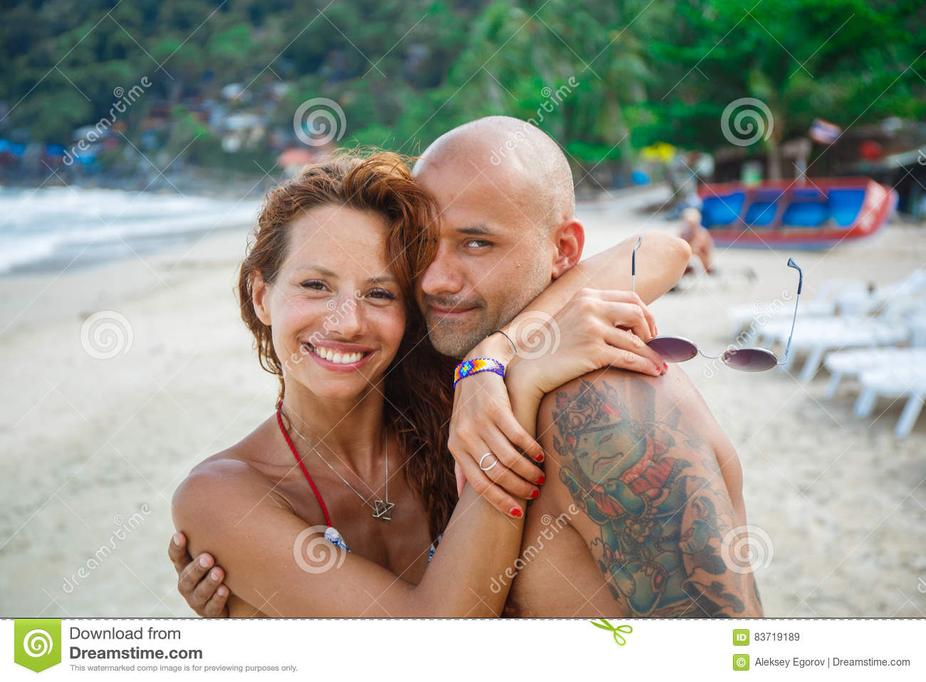 Couple Of Lovers On The Beach Stock Photo