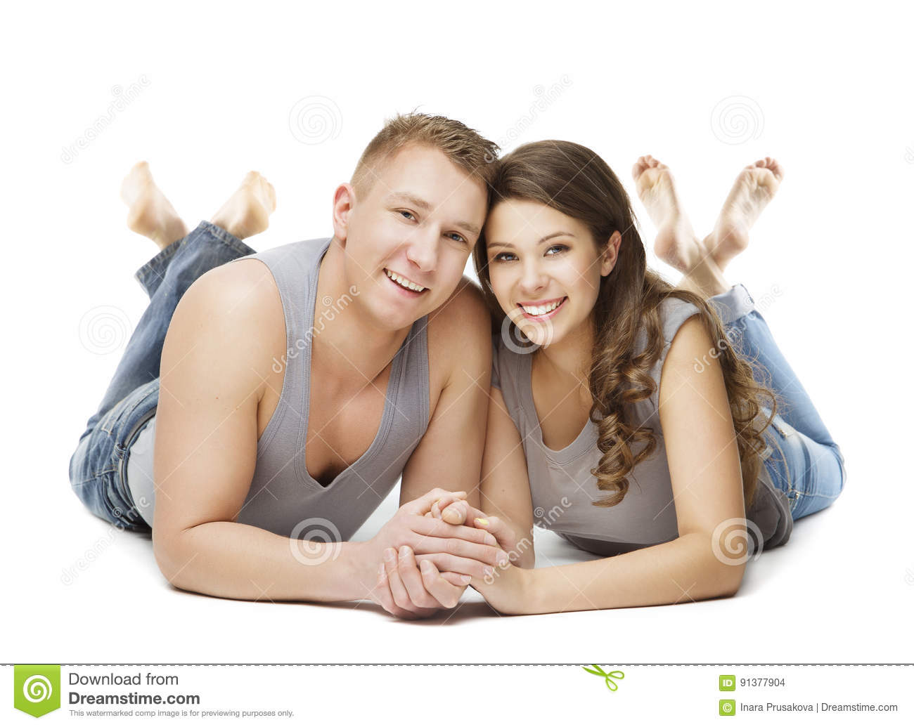 Couple Lying over White Background, Young Adult Man Woman