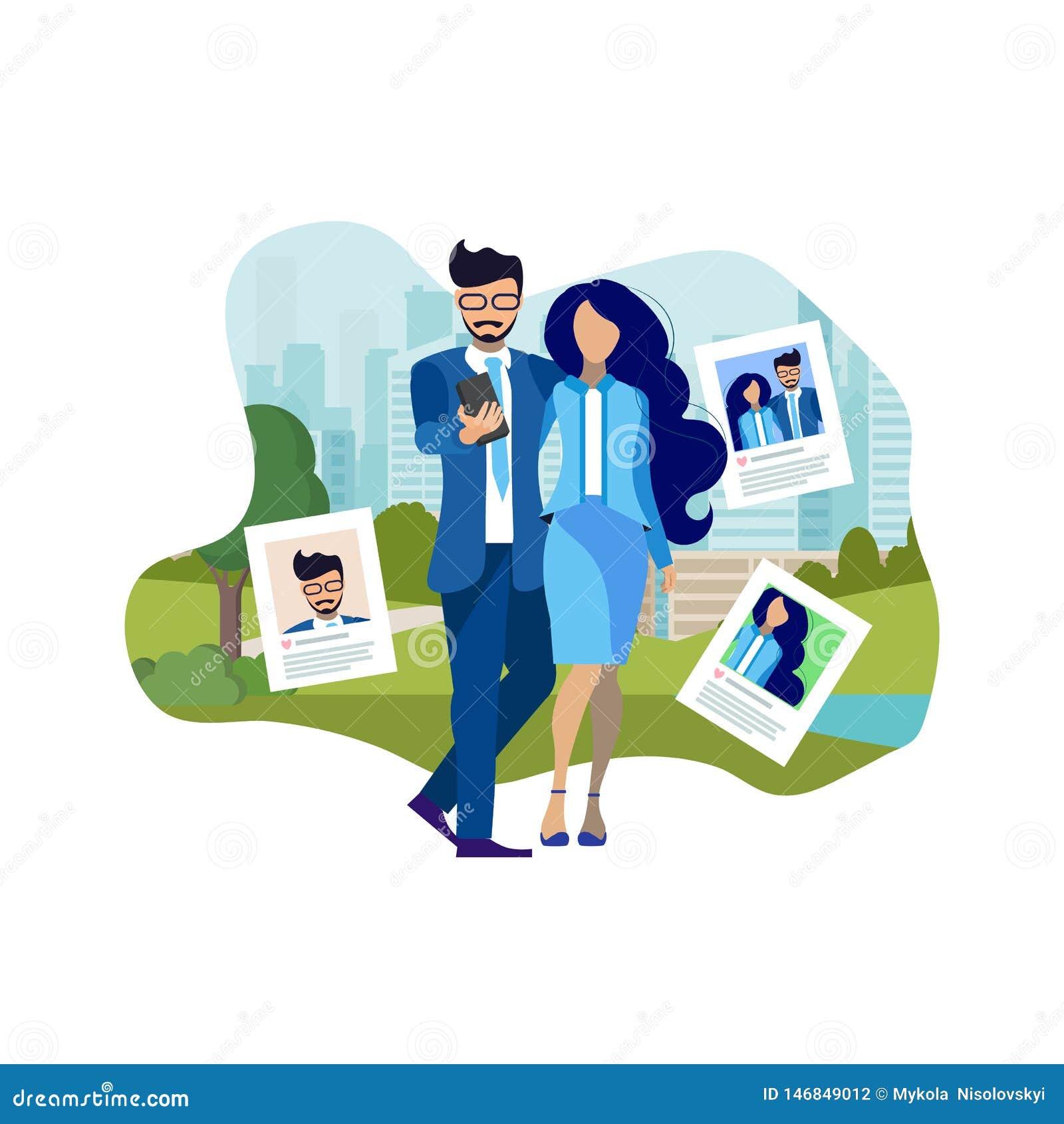 Couple Making Selfie Outdoors Flat Illustration
