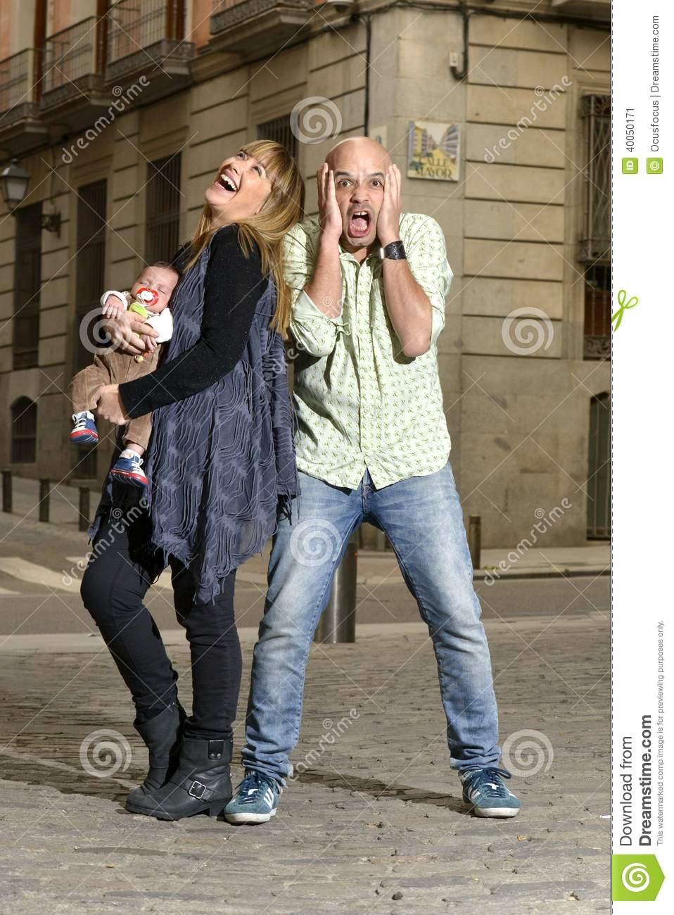 Couple with man in stress about parenthood beeing a good father