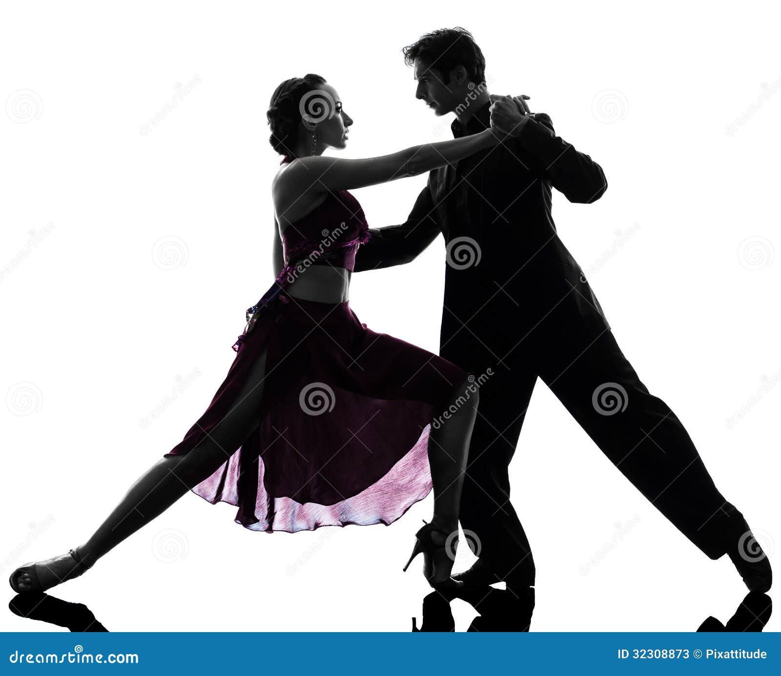 Ballroom Dancing Silhouette Vector Couple Man Woman Ballr...