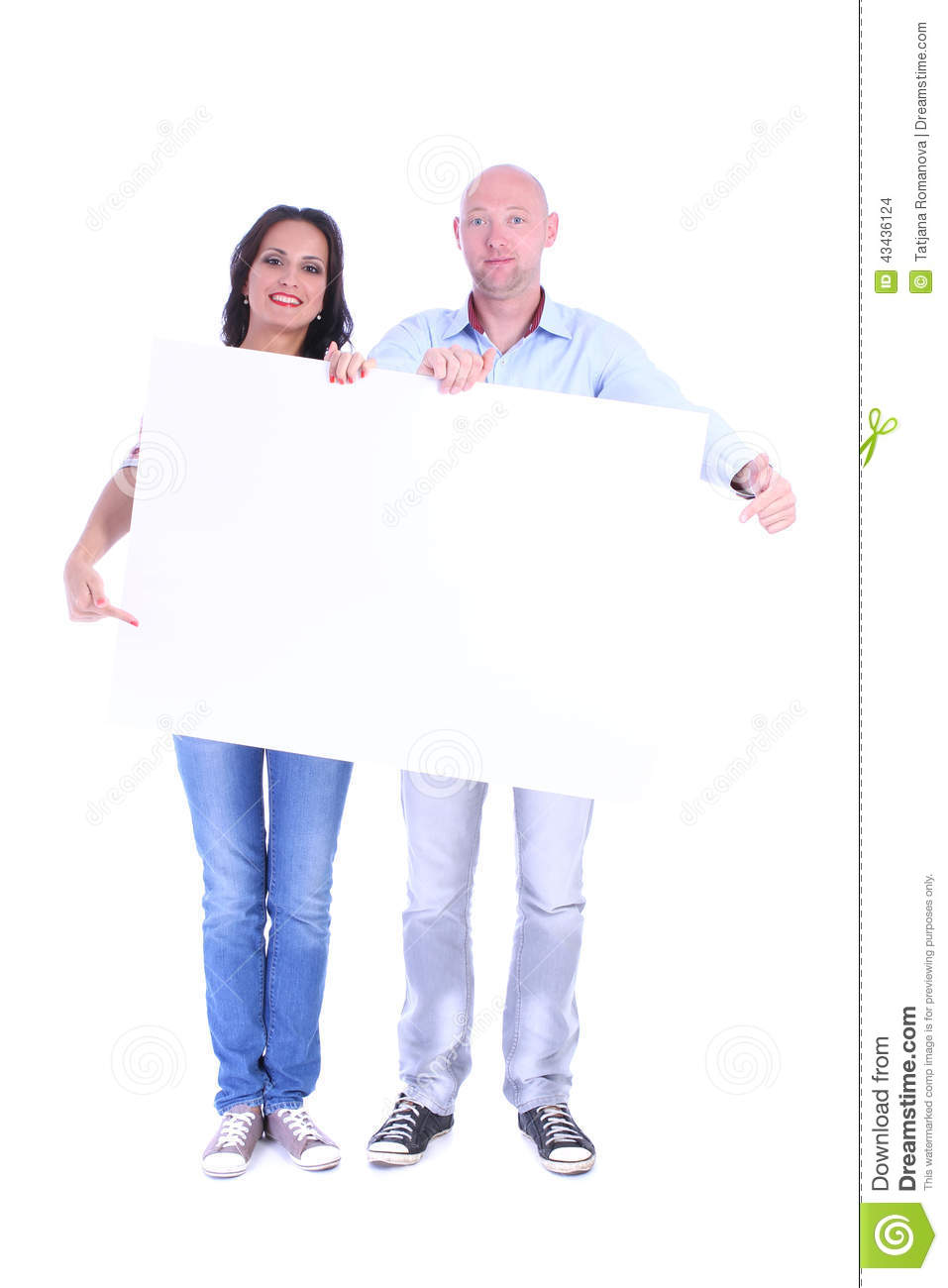 Couple man and woman with the blank banner