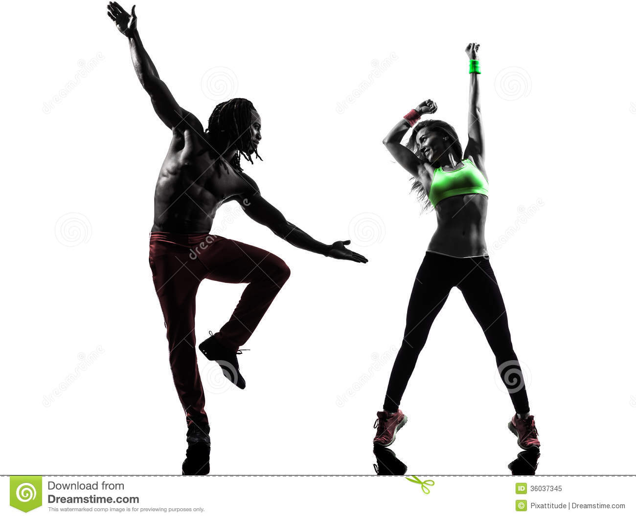Couple Man And Woman Exercising Fitness Zumba Dancing ...