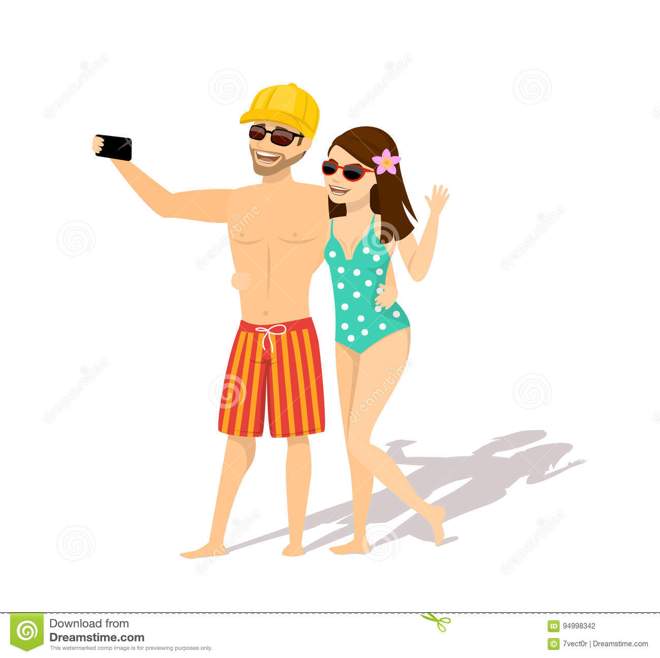 Couple Enjoying Their Summer Holidays Stock Photo: Couple, Man And Woman In Swimsuits, Sunglasses Taking